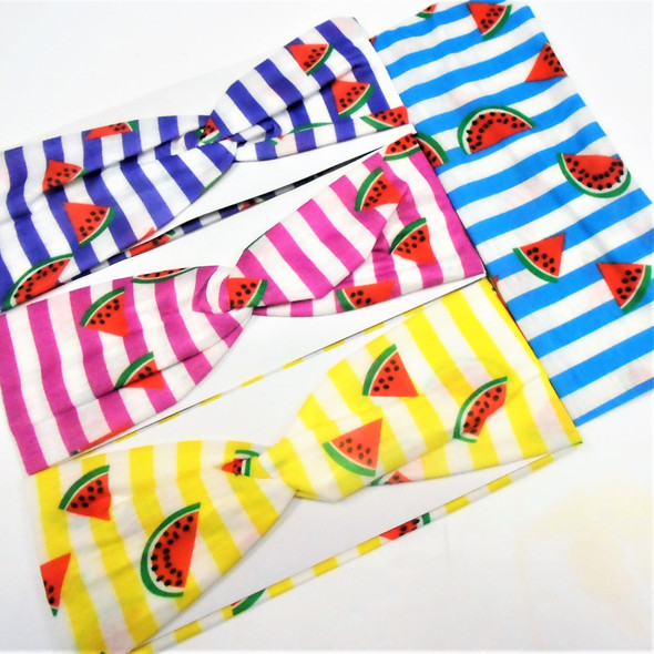 "NEW 3"" Summer Stripes Watermelon Theme Stretch Headbands  .56 ea"
