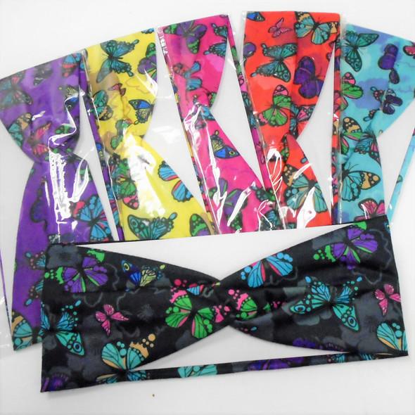 "NEW 3"" Six Butterfly Theme Stretch Headbands  .56 ea"