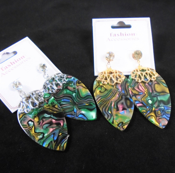 """2"""" Gold/Silver Pear Shaped Frame Earring w/ Abalone Shell Look Inlay .60 per pair"""