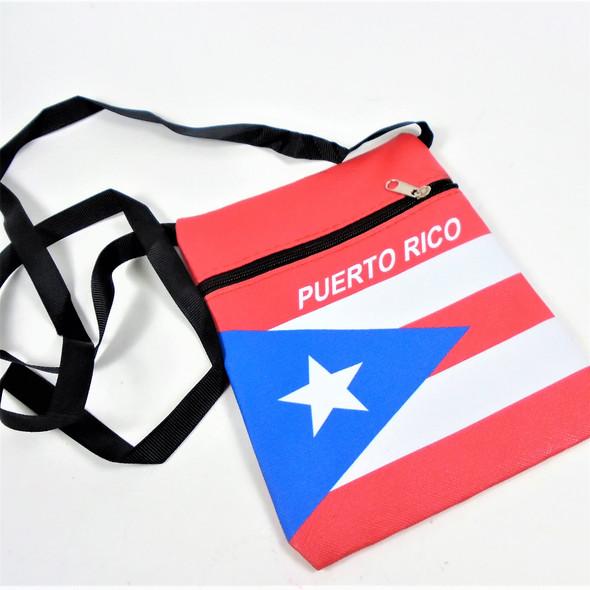 """5"""" X 7"""" Puerto Rico Flag Vinyl Zipper Bag w/ Strap .62 ea"""
