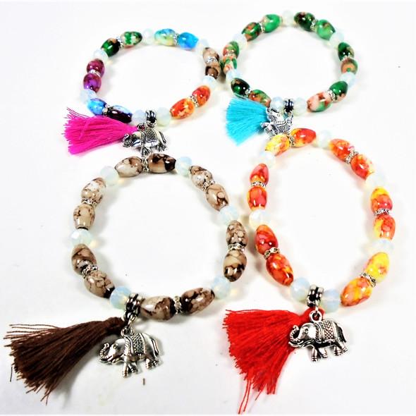 Asst Color Beaded Fashion Bracelet w/ Tassel & Silver Elephant Charm .58 ea