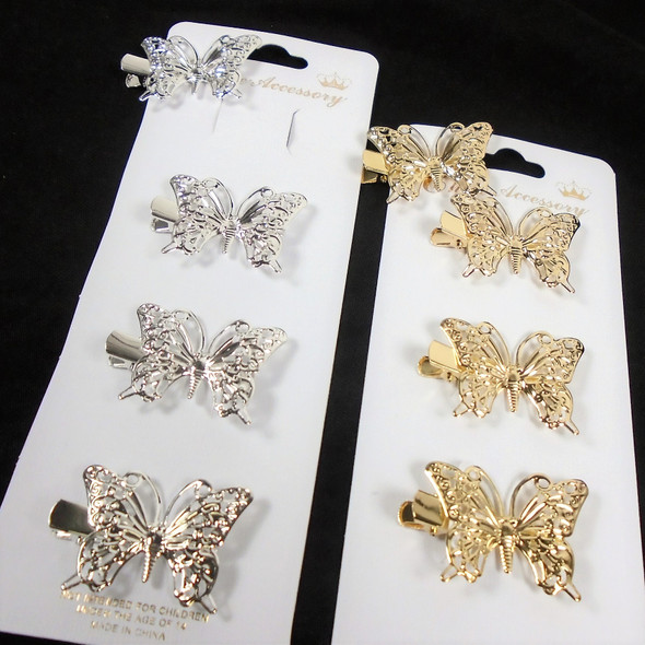 """4 Pack 1.5"""" Gold/Silver Butterfly Gator Clips  .58 per set"""