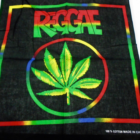 "22"" Square Rasta Color Reggae Leaf Bandana    .56 each"