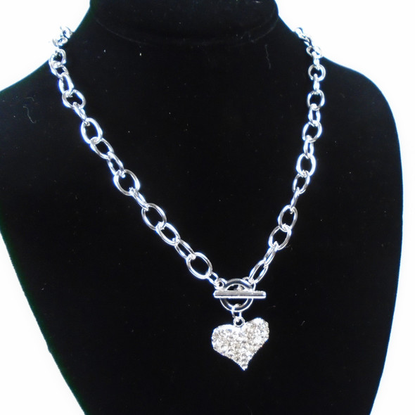 Silver Link Fashion Toggle Necklace w/ Crystal Stone Heart  12 per pk  .60 ea
