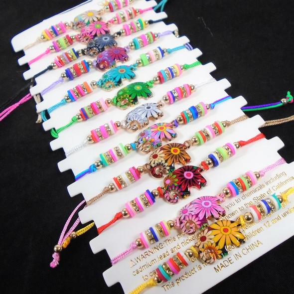 Colorful Beaded Cord Bracelets w/ Elephant Charm   12 - per cd  .56 ea