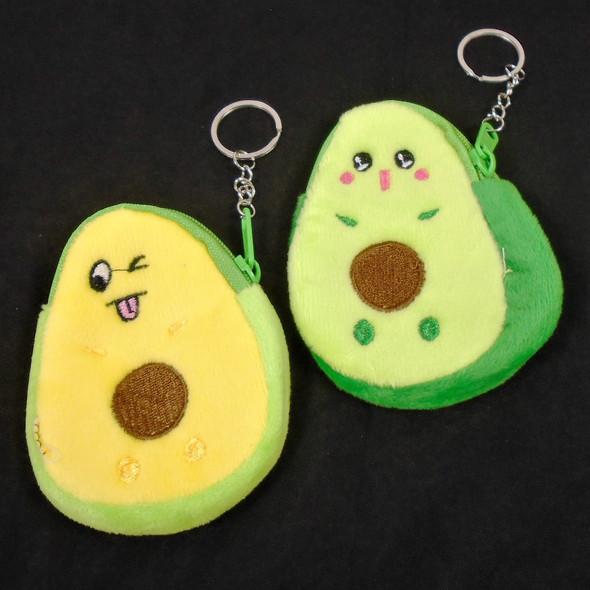 "4"" Two Tone Avocado Zipper Coin Bag w/ Keychain  12 per pk  .50 ea"