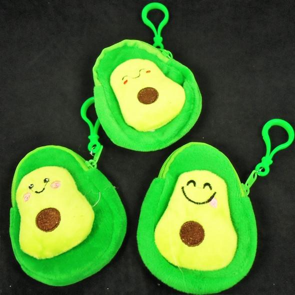 "4"" Two Tone Avocado Zipper Coin Bag w/ Clip  12 per pk  .54 ea"