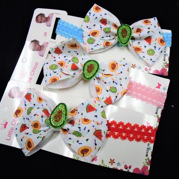 """Kid's Headbands w/ 4.5"""" Avocado Theme Bow Asst Colors  .54 each"""