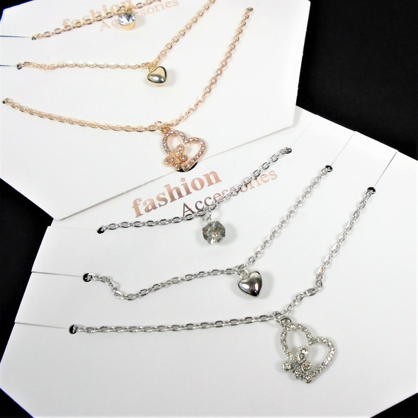 3 Pack Gold & Silver Chain Necklace Set w/ Heart/CZ/Butterfly in Heart    .60 per set