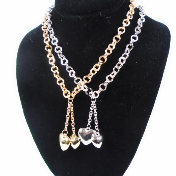 Gold & Silver Multi Link Chain  Necklace  w/ DBL Heart Pend.  .60 per set