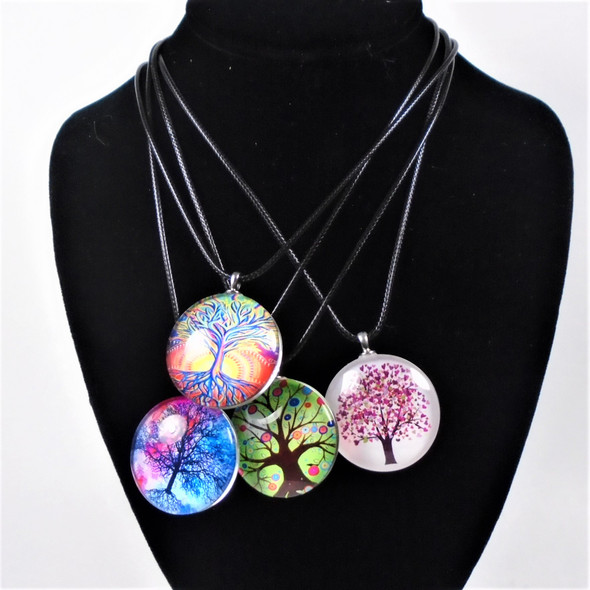 Black Leather Cord Necklaces w/ Mixed Glass  Tree of Life   Pendants   .58 ea