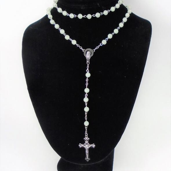 """40"""" Beaded Glow in the Dark Rosary w/ Silver Cross  12 per pk  .58 each"""