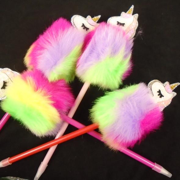 "10"" Multi Color Faux Fur Pen w/ Glitter Unicorn   12 per pk    .58  each"