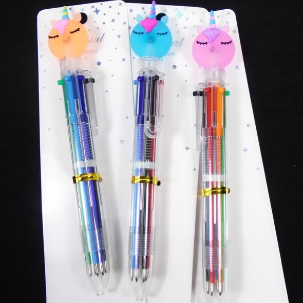 """7"""" 6 Color Novelty Pens w/ Colorful Unicorn Top  12 per pk  .58 each"""