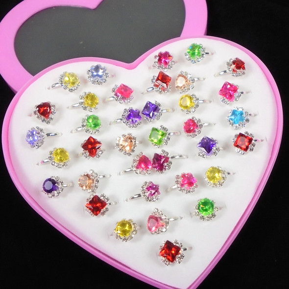 Kid's Silver Prong Set Crystal Stone Adjustable Rings  36 per bx .21 each