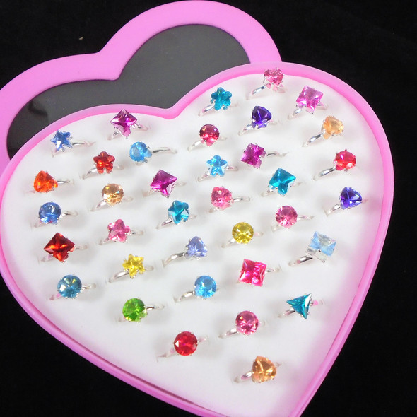 Kid's Silver Prong Set Mixed Crystal Stone Adjustable Rings  36 per bx .21 each