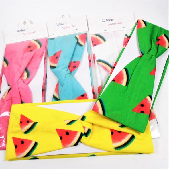 "3"" Wide Summer Color Stretch Headband w/ Watermelon Print .58 ea"