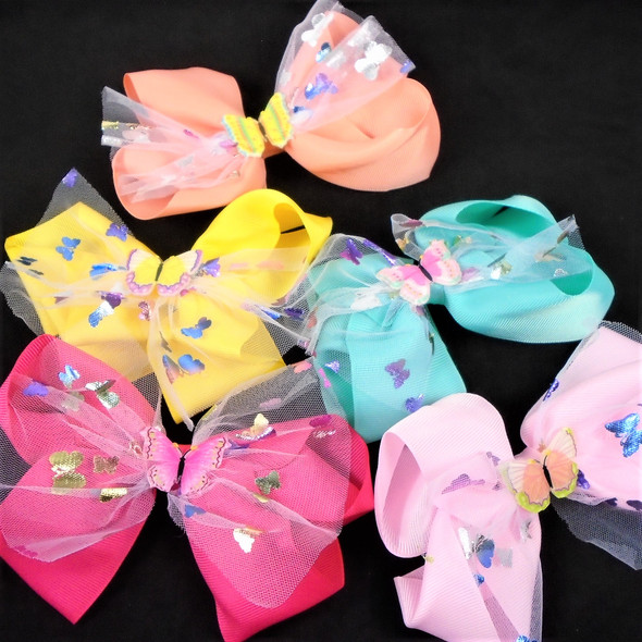 """5"""" Layered Gator Clip Bow w/ Printed Lace&   Butterfly Asst Colors   .58 each"""