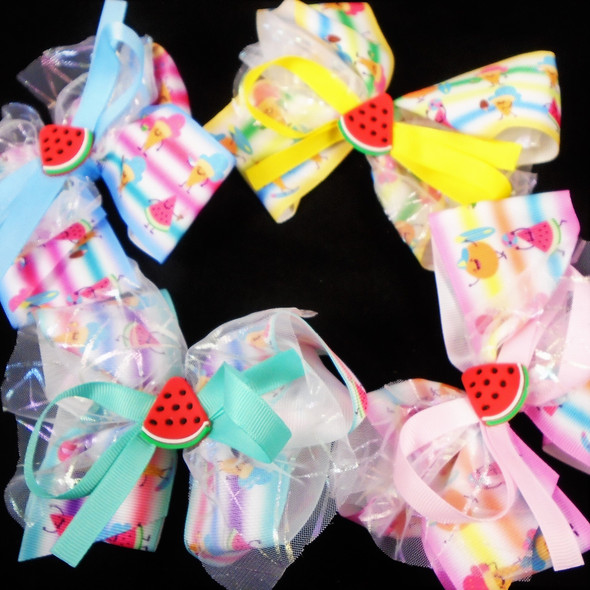 """5"""" Layered Gator Clip Bow w/  Lace &  Watermelon Asst Colors   .58 each"""