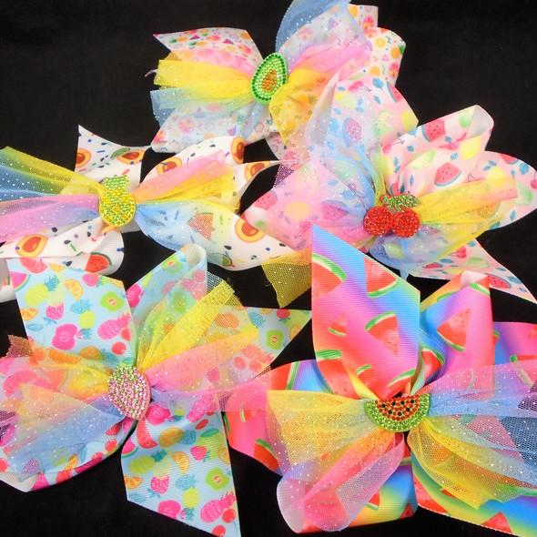 "5"" Layered Gator Clip Bow w/ Sparkle Lace &  Stone Fruit Center  Asst Colors   .58 each"