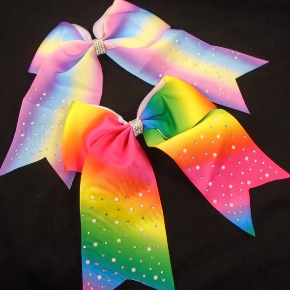 "6"" X 7"" Tye Dye Gator Clip Bows w/ Tails,Pearls & Stones 2 colors    .58 each"