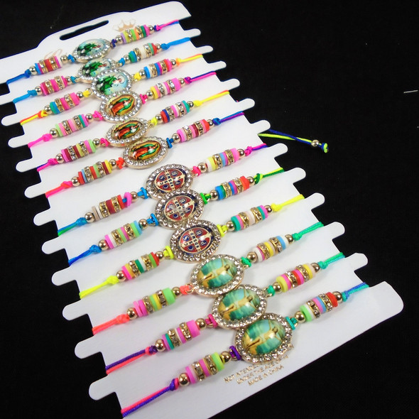 Colorful Beaded Cord Bracelets w/ Saint  Charms   12 - per cd  .56 ea