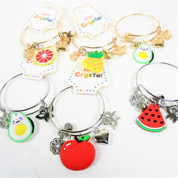 Kid's Gold & Silver Wire Bangles w/ Charms Fruit Theme .56 each