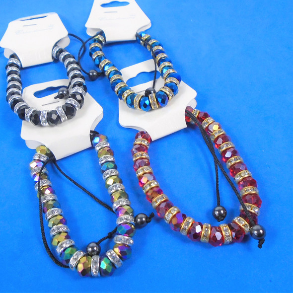 Metallic Bead & Mini Crystal Stretch Bracelets Asst Colors   .60 ea
