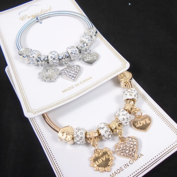 Gold & Silver Spring Style Beaded Bracelet w/ Heart Theme  Charms  .60  ea