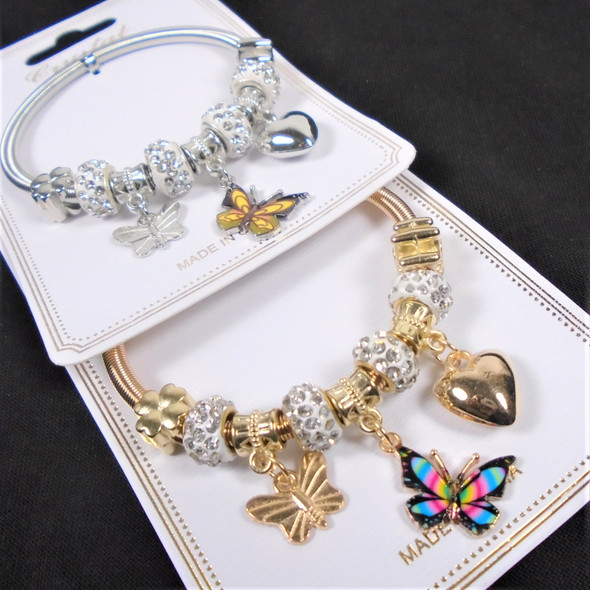 Gold & Silver Spring Style Beaded Bracelet w/ Colorful Butterfly Charms  .60  each