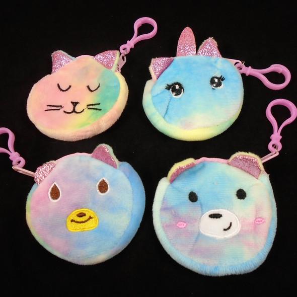 "3.5"" Coin Purse w/ Clip Tye Dye Fabric Animal Shape Theme   .60 each"