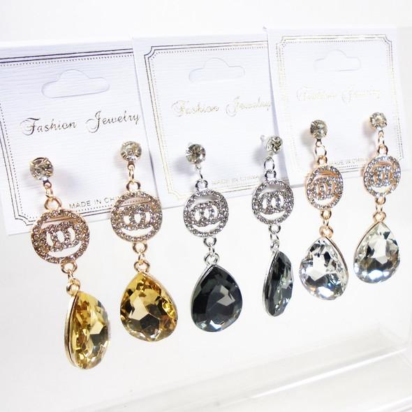 "CLASSY 2.5"" Cry. Stone DBL Circle Fashion Earring w/ Stone Drop  .56 per pair"