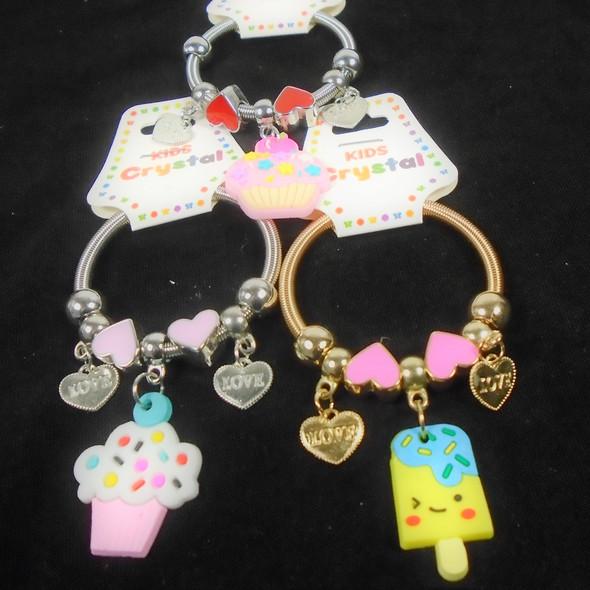 Kid's Gold & Silver Spring Style Beaded Bracelet w/ Sweet Treat Charms  .56  ea