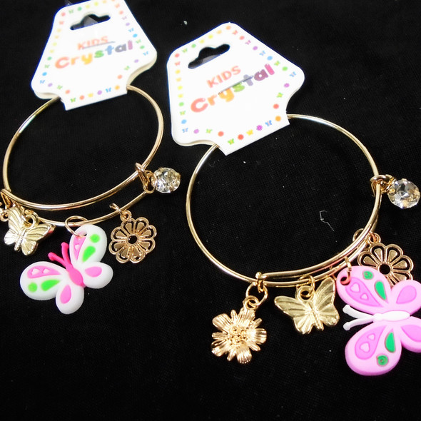 Kid's Gold Wire Bangles w/ Mixed Charms & Butterfly .56 each