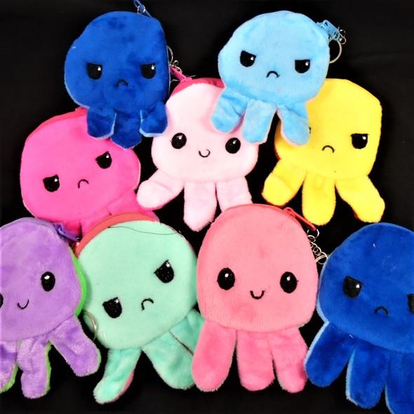 "NEW Two Tone Color 4.5"" Cute Octopus  Theme Zipper Coin Purse w/ Key Chain"