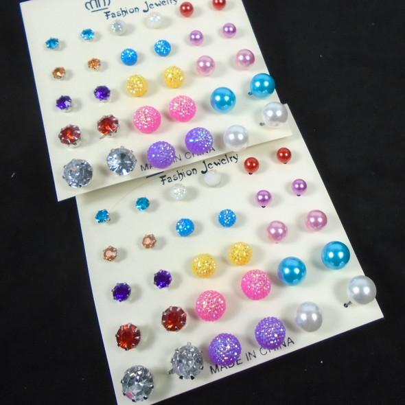 VALUE PACK 15 Pair Colorful Stud Earrings .58 per set