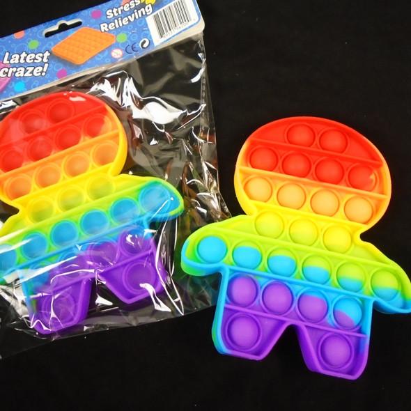 "5.5"" Silicone Fidget Popper RAINBOW Color KID Shaped   12 per pk  $ 2.75 each"