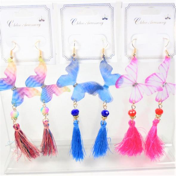 """Trending 4"""" Butterfly Earrings e/ Dangle Tassel  .58 per pair"""