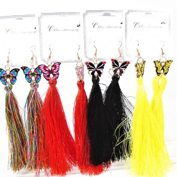 """Trending 4.5"""" Epoxy Butterfly Earrings  w/ Long Dangle Tassel  .58 per pair"""