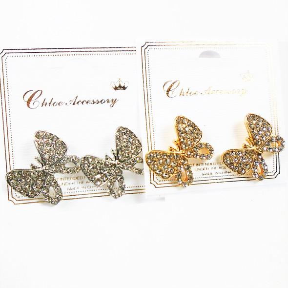 "Trending 1"" Cast GOld & Silver  Butterfly Earrings  w/ Crystal Stones   .58 per pair"