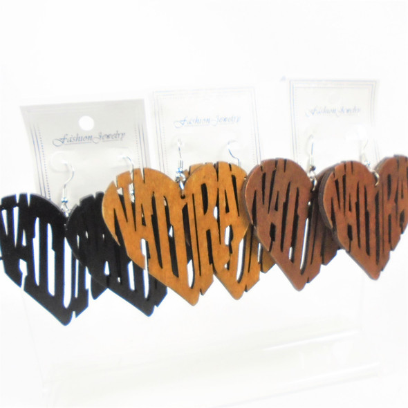 """2.5"""" Wood Earrings Heart Shaped Natural Carved   .56 per pair"""