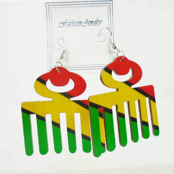 "2.5""  Wood Earrings Rasta Color Hair Pic  .56 per pair"