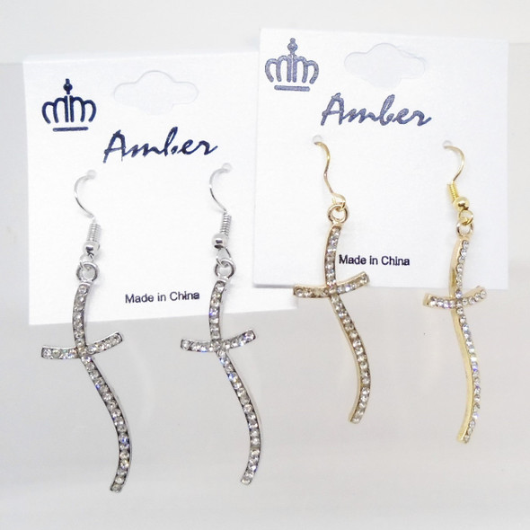 "2"" Gold & Silver Wavy Cross Earring w/ Crystal Stones  .58 per pair"