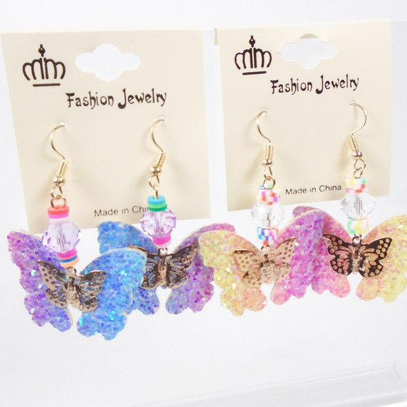 """TRENDY 2.5"""" Colored Bead Earring w/ Gradiant Color Sparkle Butterfly  .58 per pair"""