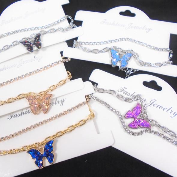2 Strand Gold/Sil Fashion Bracelet Rhinestone & Chain w/ Sparkle Butterfly .58 per set