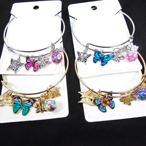 Gold & Silver Wire Bangle Bracelet w/ Asst Butterfly Charms  .60  ea