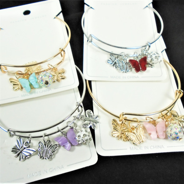 Gold & Silver Wire Bangle Bracelet w/ Butterfly Charms & Fireball Bead  .60  ea
