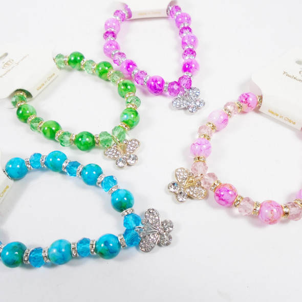 Glass Marble & Crystal Bead Bracelet w/ Crystal Stone Butterfly Charm .60 each