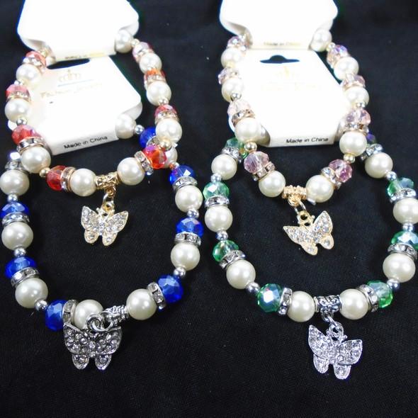 Pearl & Crystal Bead Bracelet w/ Crystal Stone Butterfly Charm .60 each