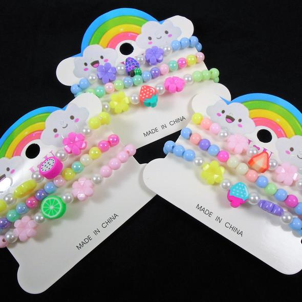 Kid's 3 Pk Stretch Bracelets w/ Fruit Theme Charms  .58 per set